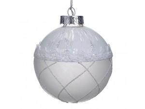 Χριστουγεννιάτικη με δαντέλα μπάλα διακόσμησης 9 εκ