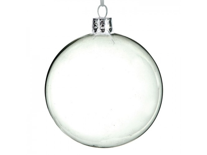 Διάφανη Χριστουγεννιάτικη Γυάλινη Μπάλα 8 εκ.