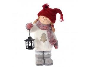 Χριστουγεννιάτικο Διακοσμητικό κορίτσι με Φανάρι 31 x 18 x 48 εκ.