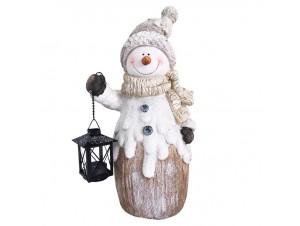 Χιονάνθρωπος με φανάρι επιτραπέζιο διακοσμητικό 45 εκ.