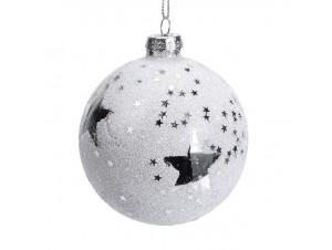 Γυάλινη Χριστουγεννιάτικη μπάλα διακόσμησης 8 εκ. με αστέρια