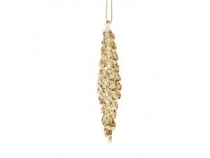 Σταλακτίτης χρυσός γυάλινος στολίδι 12 εκ.