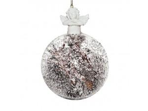 Διάφανη Χριστουγεννιάτικη μπάλα με γέμισμα και αγγελάκι,10 εκ.