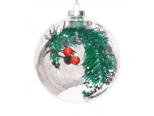 Διάφανη Χριστουγεννιάτικη μπάλα με γέμισμα κλαδί με berries και , 8 εκ.