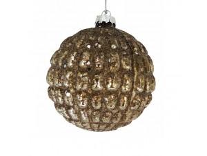 Χριστουγεννιάτικη γυάλινη ανάγλυφη μπάλα 10 εκ.