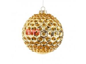 Χριστουγεννιάτικη χρυσή μπάλα διακόσμησης 8 εκ.