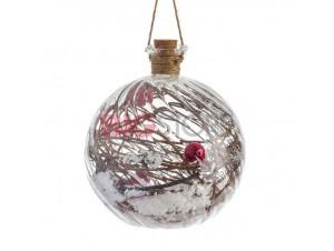 Χριστουγεννιάτικη φωτιζόμενη μπάλα ρόδι διακόσμησης 11,5 εκ.