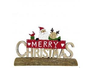 Χριστουγεννιάτικο ξύλινο διακοσμητικό 'Merry Christmas' 21 x 12 x 5 εκ.