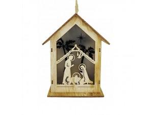 Χριστουγεννιάτικο φωτιζόμενο ξύλινο στολίδι σπιτάκι 11 x 8 x 13 εκ.