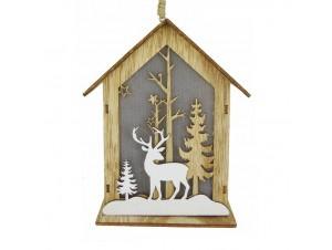 Χριστουγεννιάτικο φωτιζόμενο ξύλινο στολίδι σπιτάκι 13 x 10 x 16 εκ.