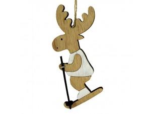 Χριστουγεννιάτικο ξύλινο στολίδι ταρανδάκι 15 εκ.