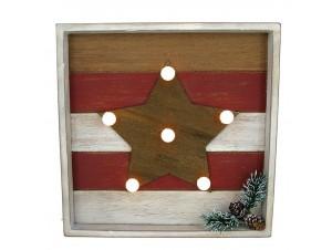 Χριστουγεννιάτικο ξύλινο φωτιζόμενο κάδρο 25 x 25 x 4 εκ.