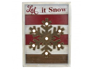 Χριστουγεννιάτικο φωτιζόμενο ξύλινο κάδρο 26,5 x 35,5 x 4 εκ.