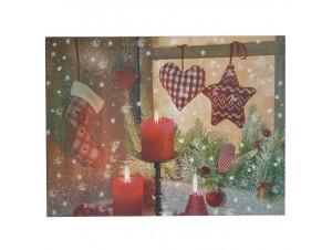 Χριστουγεννιάτικος φωτιζόμενος πίνακας με LED 40 x 30 εκ.