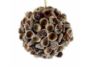 Διακοσμητική ξύλινη Χριστουγεννιάτικη μπάλα 10 εκ.