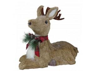 Χριστουγεννιάτικο διακοσμητικό καθιστό ελάφι 21 x 11 x 20 εκ.