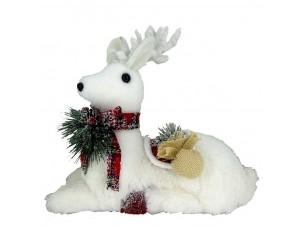 Χριστουγεννιάτικο καθιστό ελάφι διακόσμησης 21 x 11 x 20 εκ.