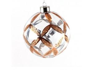 Χριστουγεννιάτικη διάφανη μπάλα με σχέδια 10 εκ.