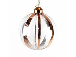 Χριστουγεννιάτικη διάφανη μπάλα με σχέδια 8 εκ.