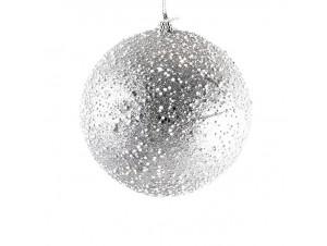 Χριστουγεννιάτικη μπάλα διακόσμησης με χιόνι 10 εκ.
