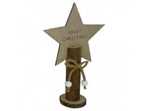 Χριστουγεννιάτικος διακοσμητικός κορμός με αστέρι 12 x 5,5 x 19 εκ.