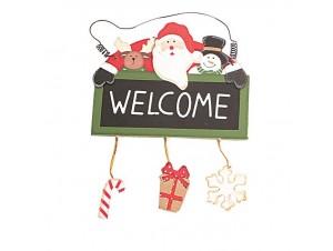 Επιγραφή Welcome Χριστουγεννιάτικο ξύλινο στολίδι δέντρου