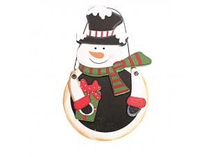 Χιονάνθρωπος Χριστουγεννιάτικο ξύλινο στολίδι δέντρου