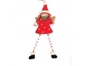 Κορίτσι Άγγελος Χριστουγεννιάτικο ξύλινο στολίδι δέντρου