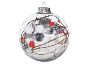 Διάφανη Χριστουγεννιάτικη μπάλα με γέμισμα berries και χιόνι, 8 εκ.