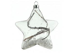 Διάφανο Χριστουγεννιάτικο Γυάλινο αστέρι 13 εκ.