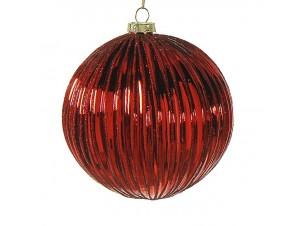 Γυάλινη κόκκινη Χριστουγεννιάτικη μπάλα με γκλίτερ 10 εκ.