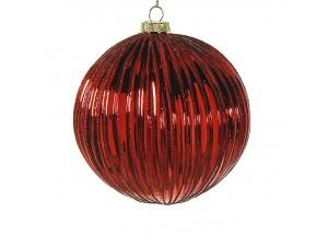 Γυάλινη κόκκινη Χριστουγεννιάτικη μπάλα με γκλίτερ 8 εκ.