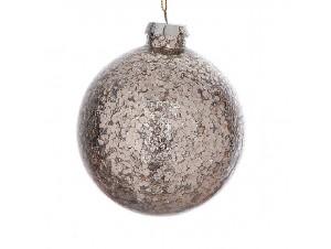 Γυάλινη μπάλα Χριστουγεννιάτικης διακόσμησης με πούλιες  10 εκ.