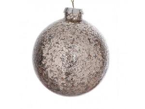 Γυάλινη μπάλα Χριστουγεννιάτικης διακόσμησης με πούλιες  12 εκ.