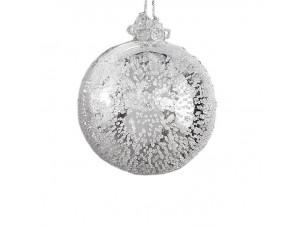 Ασημί γυάλινη μπάλα Χριστουγεννιάτικου δέντρου 8 εκ.
