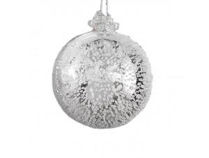 Ασημί γυάλινη μπάλα Χριστουγεννιάτικου δέντρου 10 εκ.