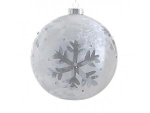 Χριστουγεννιάτικη διάφανη μπάλα διακόσμησης 15 εκ.