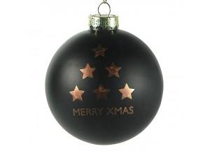 Χριστουγεννιάτικη μαύρη μπάλα διακόσμησης 8 εκ.