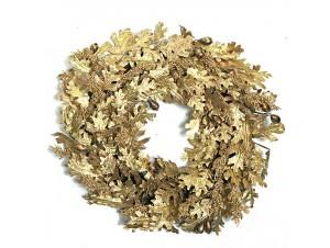 Χριστουγεννιάτικο Στεφάνι με Χρυσά φύλλα 58 εκ.