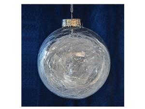 Διάφανη Χριστουγεννιάτικη μπάλα με γέμισμα ίνες, 10 εκ.