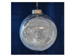 Διάφανη Χριστουγεννιάτικη μπάλα με γέμισμα ίνες, 8 εκ.