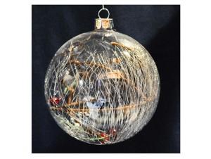 Διάφανη Χριστουγεννιάτικη μπάλα με γέμισμα berries 8 εκ.