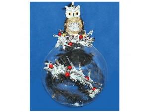 Διάφανη Χριστουγεννιάτικη μπάλα με κουκουβάγια και γέμισμα, 10 εκ.