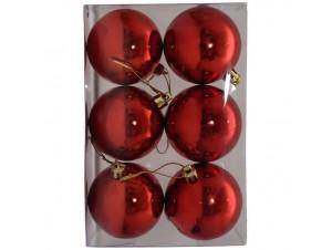 Set 6 τμχ. Κόκκινες Χριστουγεννιάτικες μπάλες 6 εκ.
