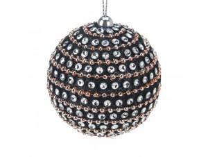 Χριστουγεννιάτικη μαύρη μπάλα διακόσμησης 7.5 εκ.