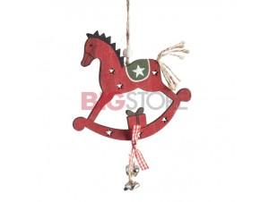 Χριστουγεννιάτικο ξύλινο αλογάκι στολίδι 26 x 13 εκ.