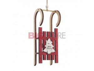 Χριστουγεννιάτικο ξύλινο κόκκινο στολίδι 21 x 5 x 4 εκ.
