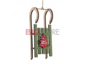 Χριστουγεννιάτικο ξύλινο πράσινο στολίδι 21 x 5 x 4 εκ.