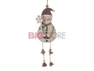 Χριστουγεννιάτικο ξύλινο στολίδι χιονάνθρωπος 32 x 7,5 εκ.