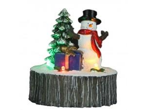 Φωτιζόμενο Χριστουγεννιάτικο διακοσμητικό χιονάνθρωπος σε πέτρα 9 x 10 εκ.